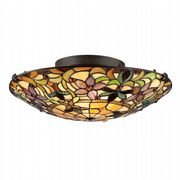 Kami Flush Fitting in Vintage Bronze with Tiffany Glass - QUOIZEL QZ/KAMI/F